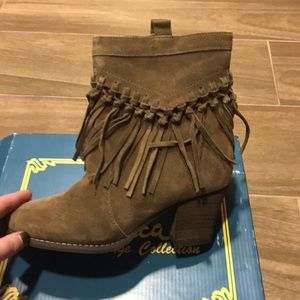 Shoes - Brown Suede Fringe Booties